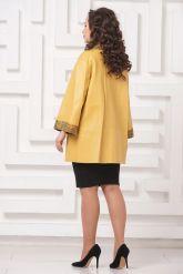 Двусторонний кожаный плащ желтого цвета. Фото 5.