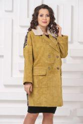 Стильное пальто из замши с мехом керли. Фото 3.