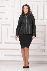 Женская кожаная куртка с отстрочкой. Фото 1.