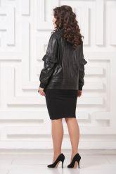 Удлиненная кожаная куртка черного цвета. Фото 2.