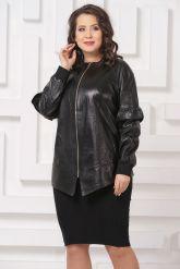 Удлиненная кожаная куртка черного цвета. Фото 3.