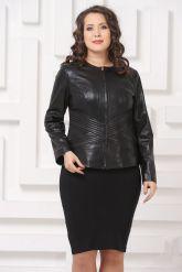 Силуэтная кожаная куртка черного цвета. Фото 4.