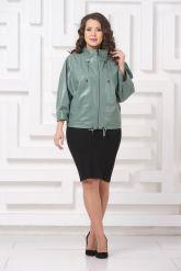 Женская кожаная куртка мятного цвета. Фото 1.
