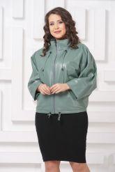 Женская кожаная куртка мятного цвета. Фото 3.