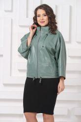Женская кожаная куртка мятного цвета. Фото 4.