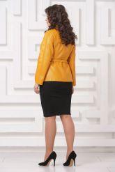 Женская кожаная куртка горчичного цвета. Фото 2.