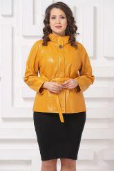 Женская кожаная куртка горчичного цвета. Фото 3.