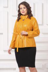 Женская кожаная куртка горчичного цвета. Фото 4.