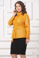 Женская кожаная куртка горчичного цвета. Фото 5.