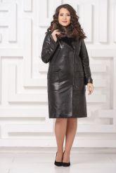 Утепленное кожаное пальто. Фото 1.