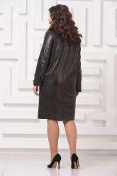 Утепленное кожаное пальто. Фото 2.