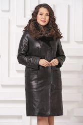 Утепленное кожаное пальто. Фото 3.