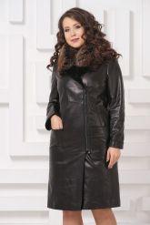 Утепленное кожаное пальто. Фото 4.