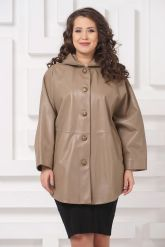 Кожаная куртка больших размеров бежевого цвета. Фото 3.