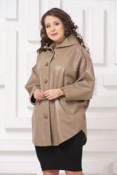 Кожаная куртка больших размеров бежевого цвета. Фото 4.
