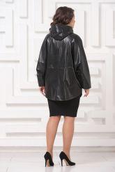Кожаная куртка больших размеров черного цвета с капюшоном. Фото 2.