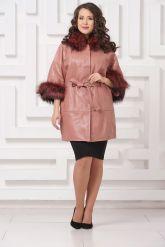 Красивое кожаное пальто цвета пудры. Фото 1.
