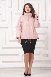 Трапециевидная кожаная куртка розового цвета. Фото 1.