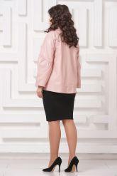 Трапециевидная кожаная куртка розового цвета. Фото 2.