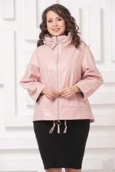 Трапециевидная кожаная куртка розового цвета. Фото 3.