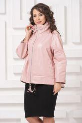 Трапециевидная кожаная куртка розового цвета. Фото 4.