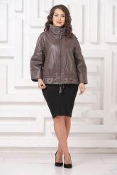 Короткая кожаная куртка цвета капучино. Фото 1.