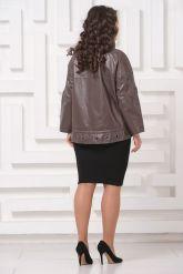 Короткая кожаная куртка цвета капучино. Фото 2.