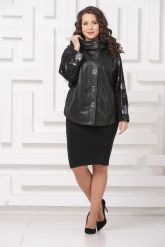 Комбинированная весенняя кожаная куртка черного цвета. Фото 1.