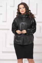 Комбинированная весенняя кожаная куртка черного цвета. Фото 2.