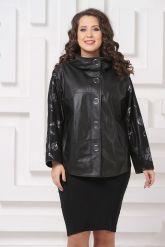 Комбинированная весенняя кожаная куртка черного цвета. Фото 3.