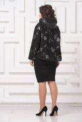 Комбинированная весенняя кожаная куртка черного цвета. Фото 4.