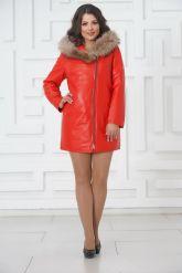 Красная кожаная демисезонная куртка больших размеров. Фото 1.
