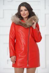 Красная кожаная демисезонная куртка больших размеров. Фото 2.