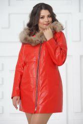 Красная кожаная демисезонная куртка больших размеров. Фото 3.