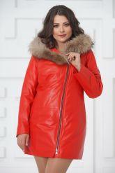 Красная кожаная демисезонная куртка больших размеров. Фото 4.