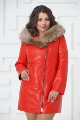 Красная кожаная демисезонная куртка больших размеров. Фото 5.