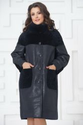 Элегантное пальто из меха овчины. Фото 2.