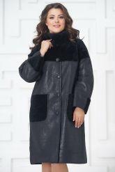 Элегантное пальто из меха овчины. Фото 3.