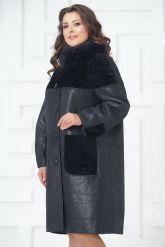 Элегантное пальто из меха овчины. Фото 4.