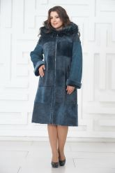 Синее двустороннее пальто из овчины. Фото 1.