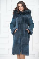 Синее двустороннее пальто из овчины. Фото 2.