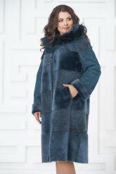 Синее двустороннее пальто из овчины. Фото 3.