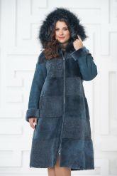 Синее двустороннее пальто из овчины. Фото 4.