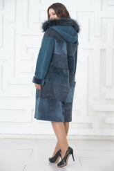 Синее двустороннее пальто из овчины. Фото 5.