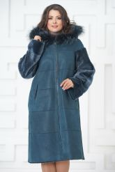 Синее двустороннее пальто из овчины. Фото 7.