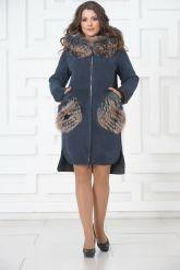 Пальто из меха овчины с отделкой из чернобурки. Фото 1.
