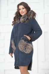 Пальто из меха овчины с отделкой из чернобурки. Фото 6.