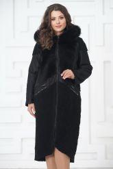 Роскошное пальто из меха овчины. Фото 3.