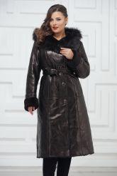 Зимнее пальто из овчины черного цвета. Фото 2.