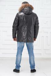 Мужской кожаный пуховик с мехом. Фото 2.